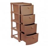 Комод универсальный 4 секции, габариты в сборе 96х40х50 см, коричневый, 'Ротанг', IDEA, М 2812