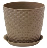 Кашпо для цветов 3 л, с поддоном, 'Ротанг', высота 16 см, диаметр 18 см, коричневое, IDEA, М 3082