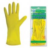 Перчатки хозяйственные латексные ЭКОКОЛЛЕКЦИЯ 'Эконом', без х/б напыления, рифленная ладонь, размер М (средний)