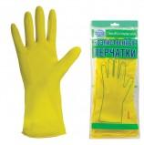 Перчатки хозяйственные латексные ЭКОКОЛЛЕКЦИЯ 'Эконом', без х/б напыления, рифленная ладонь, размер L (большой)