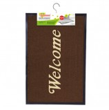Коврик входной ворсовый влаго-грязезащитный ЛАЙМА/ЛЮБАША, 60х90 см, толщина 7 мм, коричневый, 'Добро пожаловать', 602871