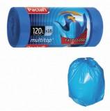 Мешки для мусора 120 л, с ушками, синие, в рулоне 15 шт., ПВД, 24 мкм, 70х118 см, PACLAN 'Multitop', 402045