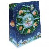 Пакет подарочный ламинированный, 26х32,4х12,7 см, 'Новогодний венок', 140 г/м2, 75322