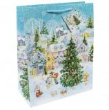Пакет подарочный ламинированный, 26х32,4х12,7 см, 'Новогодняя площадь', 140 г/м2, 75328