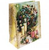 Пакет подарочный ламинированный, 26х32,4х12,7 см, 'Шампанское у елки', 140 г/м2, 75325