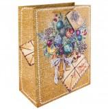 Пакет подарочный ламинированный, 26х32,4х12,7 см, 'Еловый букет', ПЛОТНЫЙ, глиттер, 250 г/м2, 75357