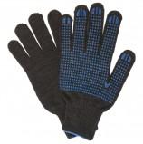 Перчатки хлопчатобумажные, КОМПЛЕКТ 5 ПАР, 7 класс, 65-67 г, 216 текс, ПВХ-точка, ЛАЙМА ПРОФИ XL, черные, 604473