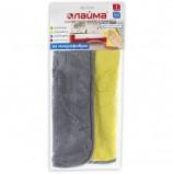 Салфетка универсальная двусторонняя, плотная микрофибра (плюш), 35х35 см, желтая/серая, ЛАЙМА, 604686