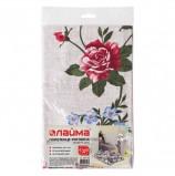 Полотенце рогожка набивное, 47х60 см, плотность 180 (±10) г/м2, 'Крупные цветы', европодвес, ЛАЙМА, 604768