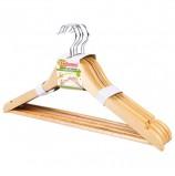 Вешалки-плечики, размер 48-50, КОМПЛЕКТ 5 шт., деревянная, перекладина, цвет сосна, ЛЮБАША Эконом