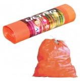 Мешки для мусора 60 л, с завязками, оранжевые, в рулоне 15 шт., ПВД, 20 мкм, 75х60 см, особо прочные, КОНЦЕПЦИЯ БЫТА 'Ultra', 1718