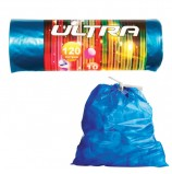 Мешки для мусора 120 л, с завязками, синие, в рулоне 10 шт., ПВД, 30 мкм, 70х110 см, КОНЦЕПЦИЯ БЫТА 'Ultra', 1725