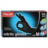 Перчатки хозяйственные нитриловые, 25 пар (50 штук), ЧЕРНЫЕ, размер M (средний), PACLAN, 407780