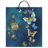 Пакет с пластиковой ручкой ПВД, 44х40 см, 'Золотые бабочки', 100 мкм, н00118004
