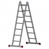 Лестница-трансформер алюминиевая 2х7 ступеней, высота 4,0 м (2 секции по 1,95 м), нагрузка 150 кг, 511207