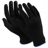 Перчатки нейлоновые MANIPULA 'Микрон Блэк ПВХ', ПВХ-точка, КОМПЛЕКТ 10 пар, размер 9 (L), черные, TNG-28/MG-112