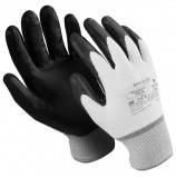Перчатки нейлоновые MANIPULA 'Микронит', нитриловое покрытие (облив), размер 9 (L), белые/черные, TNI-14