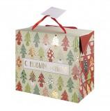 Пакет-коробка подарочный ламинированный, 22,5х20х13,5 см, 'Разноцветные ёлочки' 180 г/м2, 79954