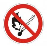 Знак запрещающий 'Запрещается пользоваться открытым огнем и курить', круг, диаметр 200 мм, самоклейка, 610002/Р 02