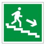Знак эвакуационный 'Направление к эвакуационному выходу по лестнице НАПРАВО вниз', квадрат 200х200 мм, самоклейка, 610018/Е 13