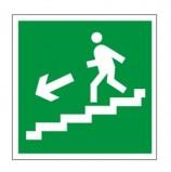 Знак эвакуационный 'Направление к эвакуационному выходу по лестнице НАЛЕВО вниз', квадрат 200х200 мм, самоклейка, 610019/Е 14