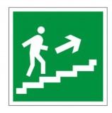 Знак эвакуационный 'Направление к эвакуационному выходу по лестнице НАПРАВО вверх', квадрат 200х200 мм, самоклейка, 610020/Е 15