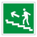 Знак эвакуационный 'Направление к эвакуационному выходу по лестнице НАЛЕВО вверх', квадрат, 200х200 мм, самоклейка, 610021/Е 16