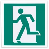 Знак эвакуационный 'Выход здесь (левосторонний)', 200х200 мм, самоклейка, фотолюминесцентный, Е 01-01