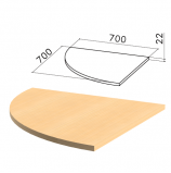 Стол приставной угловой 'Монолит', 700х700х750 мм, БЕЗ ОПОРЫ (640137), цвет бук бавария, ПМ33.1