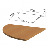 Стол приставной угловой 'Монолит', 700х700х750 мм, БЕЗ ОПОРЫ (640137), цвет орех гварнери, ПМ33.3