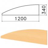 Экран-перегородка 'Монолит', 1200х16х340 мм, БЕЗ ФУРНИТУРЫ (код 640237), бук бавария, ЭМ20.1