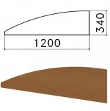 Экран-перегородка 'Монолит', 1200х16х340 мм, БЕЗ ФУРНИТУРЫ (код 640237), орех гварнери, ЭМ20.3
