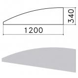 Экран-перегородка 'Монолит', 1200х16х340 мм, БЕЗ ФУРНИТУРЫ (код 640237), серый, ЭМ20.11