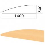 Экран-перегородка 'Монолит', 1400х16х340 мм, БЕЗ ФУРНИТУРЫ (код 640237), бук бавария, ЭМ21.1