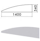 Экран-перегородка 'Монолит', 1400х16х340 мм, БЕЗ ФУРНИТУРЫ (код 640237), серый, ЭМ21.11