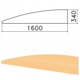 Экран-перегородка 'Монолит', 1600х16х340 мм, БЕЗ ФУРНИТУРЫ (код 640237), бук бавария, ЭМ22.1