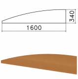 Экран-перегородка 'Монолит', 1600х16х340 мм, БЕЗ ФУРНИТУРЫ (код 640237), орех гварнери, ЭМ22.3