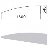Экран - перегородка 'Монолит', 1600х16х340 мм, БЕЗ ФУРНИТУРЫ (код 640237), серый, ЭМ22.11