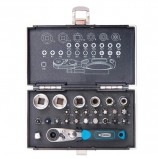 Набор бит и торцевых головок 1/4', 26 предметов, GROSS, магнитный адаптер, храповый ключ, переходник, кейс, 11361