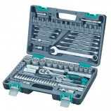 Набор инструментов, 82 предмета, STELS, 1/4',1/2', квадрат, CrV, пластиковый кейс, 14105