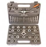 Набор метчиков и плашек 40 предметов, SPARTA, М3-М12, плашко-метчикодержатель, пластиковый кейс, 773155