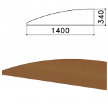 Экран - перегородка 'Монолит', 1400х16х340 мм, цвет орех гварнери (КОМПЛЕКТ)