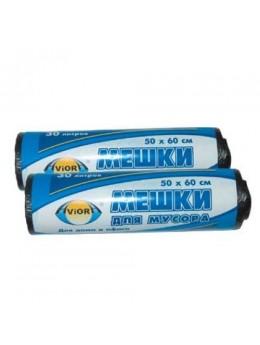 Мешки для мусора 50 * 60см (30 л - 6 мкм) ПНД  AVIORA чёрные, рулон в бумажной уп.(106-017)