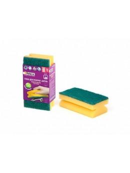Губка д/ уборки AKTIV с вырезами, PATERRA, 1шт. в карт. упаковке, 130*65*44мм (406-006)