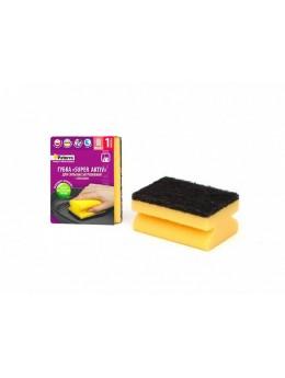 Губка кухонная SUPER AKTIV с лавсаном, с вырезами, 1шт. в карт, 95*70*45мм (406-007)