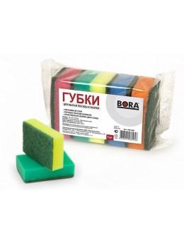 Губка бытовая с абразивным слоем, 75*45*25 мм, 5 шт. в упаковке, ГОРНИЦА(406-068)