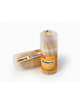 Зубочистки  деревянные,100 шт. в пластиковой баночке, 6 см*2 мм, PATERRA (401-782)